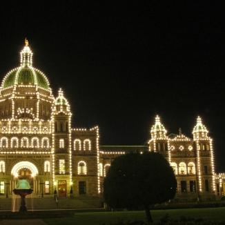 legislative building lit up