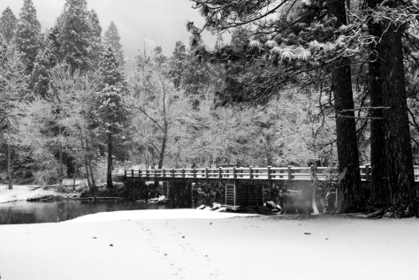 The Swinging Bridge in Snow