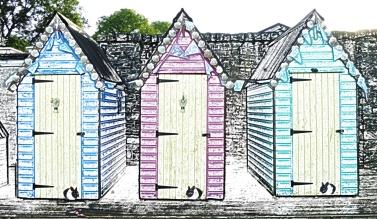 beach-huts-pencil