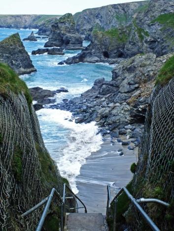 Steep stone steps to the beach