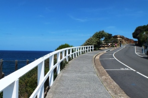 The road leading down to Bronte beach