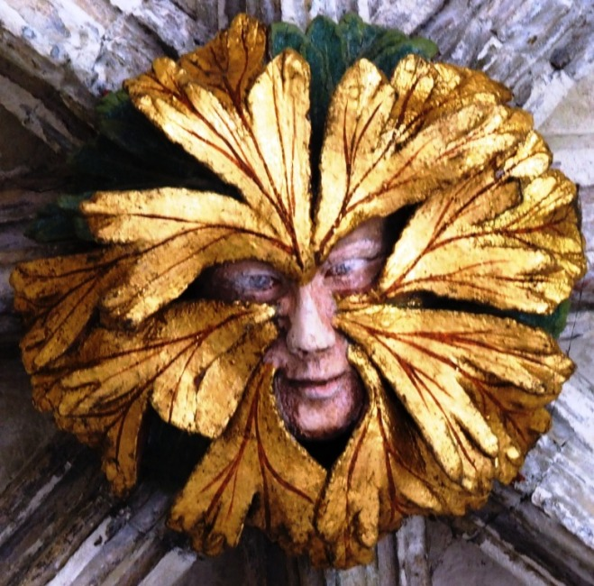 """The Green Man"" 14th century boss in the east walk of the cloister."
