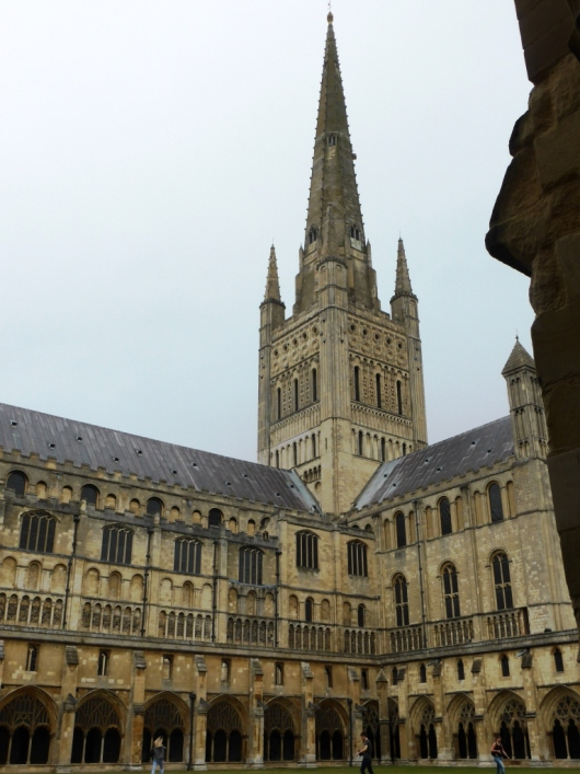 The spire and south transept viewed from the cloisters