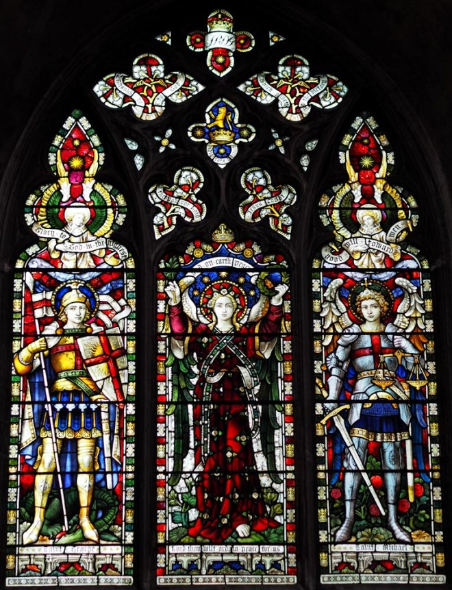 A c1902 memorial window dedicated to the 7th (Princess Royal's) Dragoon Guards who fell in the South African War.