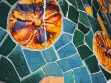 Brightly coloured tile-shard mosaics