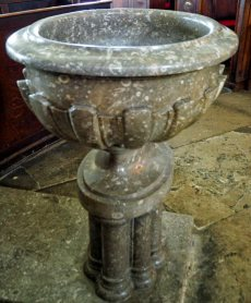 The oval font was bought in 1843 and replaced the silver christening basin which was used to baptise Charles Darwin in 1809.