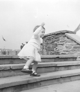 Judith negotiating the stairs - 1955